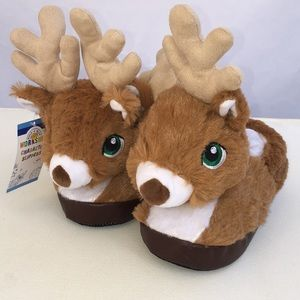 Youth Reindeer Character Slippers NWT